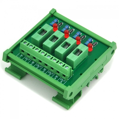 Electronics-Salon DIN Rail Mount 5~48VDC 4 Channel Fuse Interface Module, with Fuse Fail Indication.
