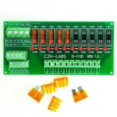 CZH-LABS AC/DC 5~32V Panel Mount 10 Position Power Distribution Fuse Module Board.