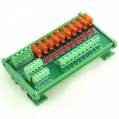 CZH-LABS DIN Rail Mount AC/DC 5~32V 10 Position Power Distribution Fuse Module Board.