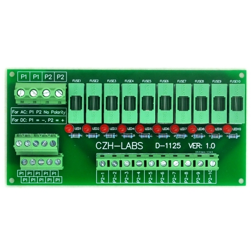 CZH-LABS 180~250VAC Panel Mount 10 Position Power Distribution Fuse Module Board.
