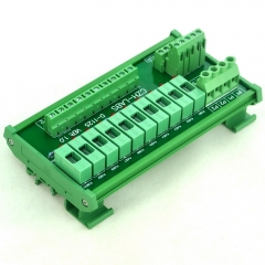 CZH-LABS DIN Rail Mount 180~250VAC 10 Position Power Distribution Fuse Module Board.