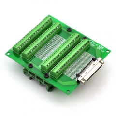 CZH-LABS DIN Rail Mount 68-Pin VHDCI DSUB SCSI-5 Screw Terminal Block Breakout Board.