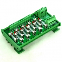CZH-LABS DIN Rail Mount AC/DC 5~48V 10 Position Power Distribution Fuse Module Board.