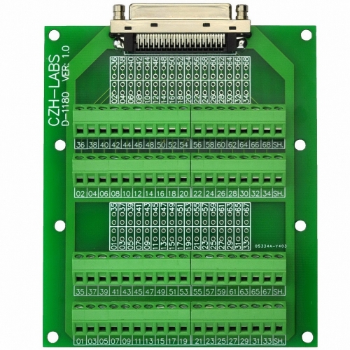 CZH-LABS 68-Pin VHDCI DSUB SCSI-5 Screw Terminal Block Breakout Board.