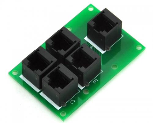 ELECTRONICS-SALON RJ45 8P8C Splitter Board, 5 Jacks Connector, Buss Board.