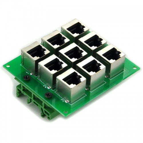 ELECTRONICS-SALON RJ45 8P8C 9-Way Buss Board Interface Module with Simple DIN Rail Mounting feet.