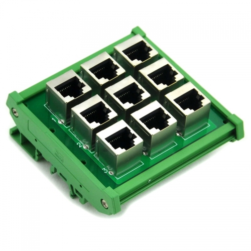 ELECTRONICS-SALON RJ45 8P8C 9-Way Buss Board DIN Rail Mount Interface Module.