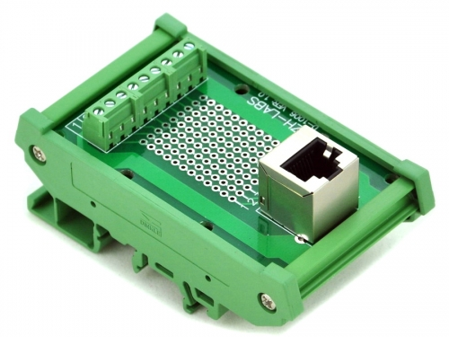 CZH-LABS RJ45 8P8C DIN Rail Mount Interface Module, Vertical Jack.