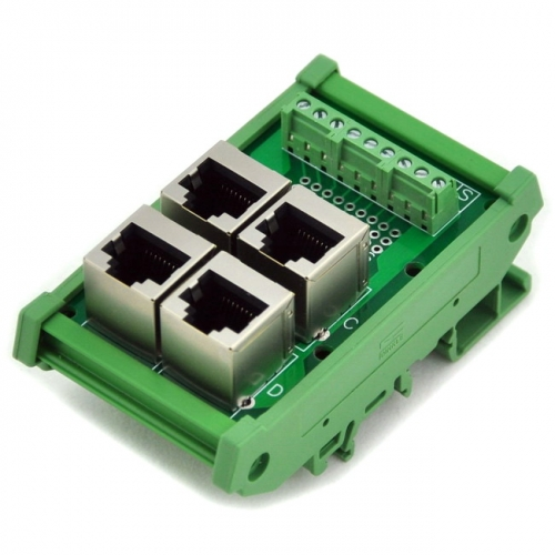 ELECTRONICS-SALON RJ45 8P8C 4-Way Buss Board DIN Rail Mount Interface Module.