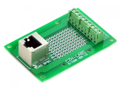 CZH-LABS RJ45 8P8C Vertical Shielded Jack Breakout Board, Terminal Block, Connector.