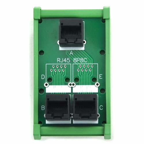 ELECTRONICS-SALON RJ45 8P8C 3 Jacks Splitter DIN Rail Mounted Interface Module.
