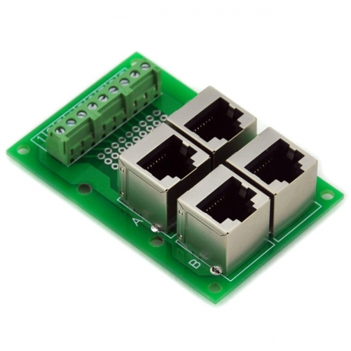 ELECTRONICS-SALON RJ45 8P8C Jack 4-Way Buss Breakout Board, Terminal Block, Connector.