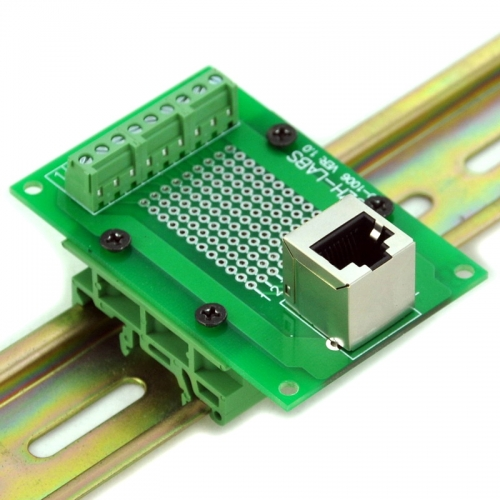 CZH-LABS RJ45 8P8C Interface Module with Simple DIN Rail Mounting feet, Vertical Jack.