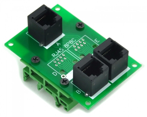ELECTRONICS-SALON RJ45 8P8C Splitter Board Interface Module with Simple DIN Rail Mounting Feet.