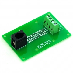 CZH-LABS RJ9 4P4C Vertical Jack Breakout Board, Terminal Block Connector.