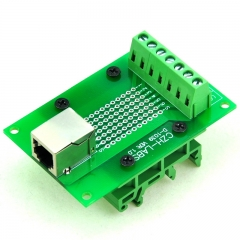 CZH-LABS RJ11/RJ12 6P6C Interface Module w/Simple DIN Rail Mounting feet,Right Angle Jack