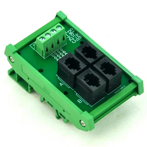 CZH-LABS DIN Rail Mount RJ9 4P4C 4-Way Buss Board Interface Module.