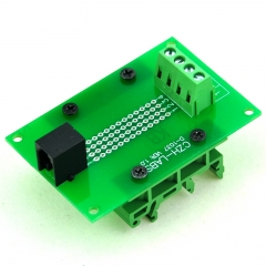CZH-LABS RJ9 4P4C Interface Module with Simple DIN Rail Mounting feet, Right Angle Jack.