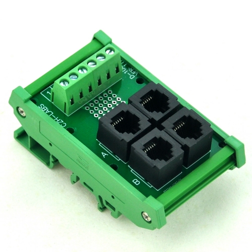 CZH-LABS DIN Rail Mount RJ11/RJ12 6P6C 4-Way Buss Board Interface Module.