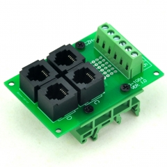 CZH-LABS RJ11/RJ12 6P6C 4-Way Buss Board Interface Module with Simple DIN Rail Bracket.