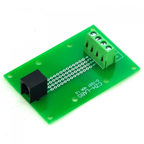 CZH-LABS RJ9 4P4C Right Angle Jack Breakout Board, Terminal Block Connector.