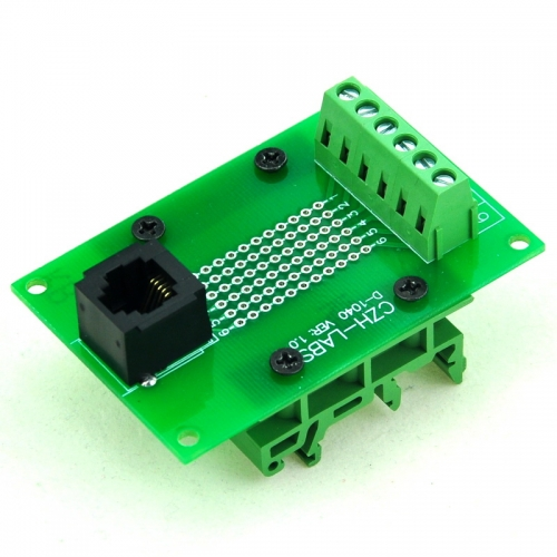 CZH-LABS RJ11/RJ12 6P6C Interface Module with Simple DIN Rail Mounting feet,Vertical Jack