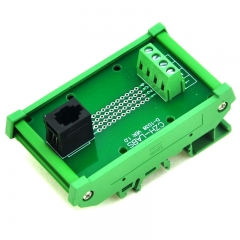 CZH-LABS RJ9 4P4C DIN Rail Mount Interface Module, Vertical Jack.