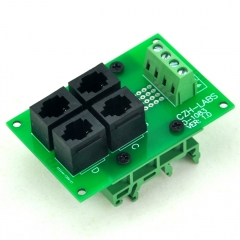 CZH-LABS RJ9 4P4C 4-Way Buss Board Interface Module with Simple DIN Rail Mount Bracket.