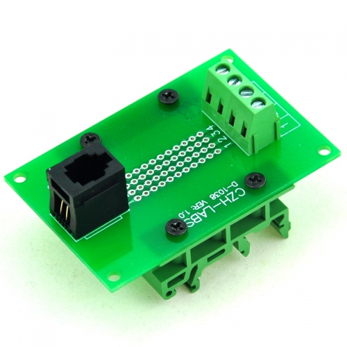 CZH-LABS RJ9 4P4C Interface Module with Simple DIN Rail Mounting feet, Vertical Jack.