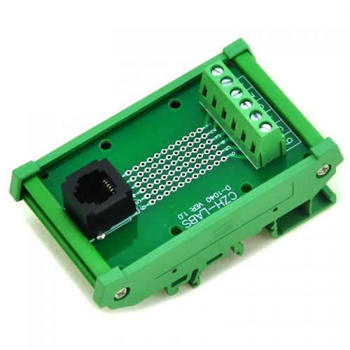 CZH-LABS RJ11/RJ12 6P6C DIN Rail Mount Interface Module, Vertical Jack.