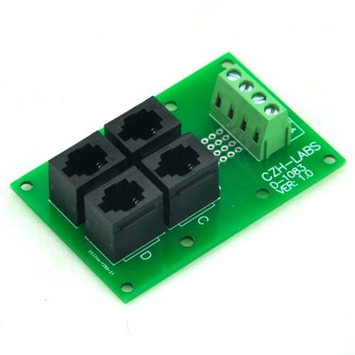 CZH-LABS RJ9 4P4C Jack 4-Way Buss Breakout Board, Terminal Block, Connector.