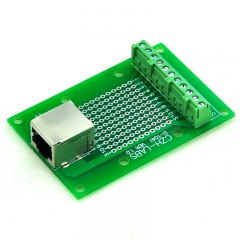 CZH-LABS RJ50 10P10C Right Angle Shielded Jack Breakout Board, Terminal Block Connector.