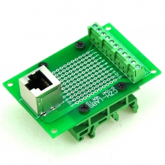 CZH-LABS RJ50 10P10C Interface Module with Simple DIN Rail Mounting feet, Vertical Jack.