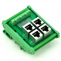 CZH-LABS DIN Rail Mount RJ50 10P10C 4-Way Buss Board Interface Module.
