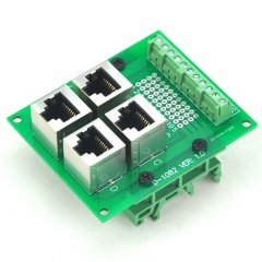 CZH-LABS RJ50 10P10C 4-Way Buss Board Interface Module with Simple DIN Rail Mount Bracket