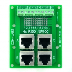 CZH-LABS RJ50 10P10C Jack 4-Way Buss Breakout Board, Terminal Block, Connector.