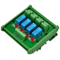 ELECTRONICS-SALON DIN Rail Mount 4 DPDT Signal Relay Interface Module, DC 5V Version.