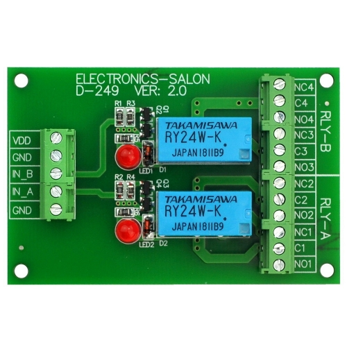 ELECTRONICS-SALON 2 DPDT Signal Relay Module Board, DC 24V Version, for Arduino Raspberry-Pi 8051 PIC.
