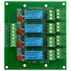 ELECTRONICS-SALON 4 DPDT Signal Relay Module Board, DC 24V Version, for Arduino Raspberry-Pi 8051 PIC.