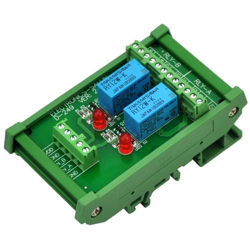 ELECTRONICS-SALON DIN Rail Mount 2 DPDT Signal Relay Interface Module, DC 12V Version.
