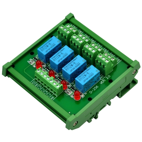 ELECTRONICS-SALON DIN Rail Mount 4 DPDT Signal Relay Interface Module, DC 12V Version.