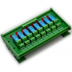 ELECTRONICS-SALON DIN Rail Mount 8 DPDT Signal Relay Interface Module. (Operating Voltage: DC 12V)