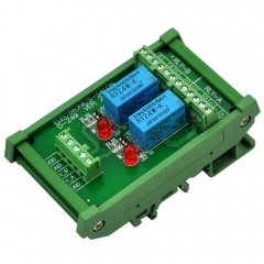 ELECTRONICS-SALON DIN Rail Mount 2 DPDT Signal Relay Interface Module, DC 24V Version.