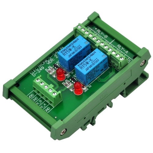 ELECTRONICS-SALON DIN Rail Mount 2 DPDT Signal Relay Interface Module, DC 5V Version.