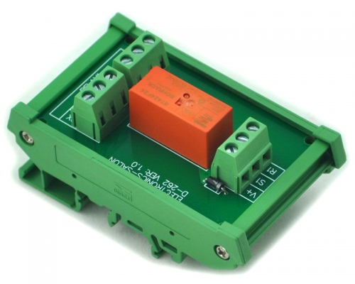 ELECTRONICS-SALON DIN Rail Mount Passive Bistable/Latching DPDT 8A Power Relay Module, 24V Version