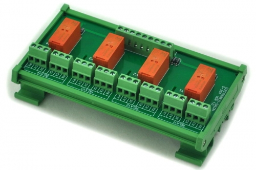 ELECTRONICS-SALON DIN Rail Mount Passive Bistable/Latching 4 DPDT 8A Power Relay Module, 24V Ver.