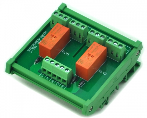 ELECTRONICS-SALON DIN Rail Mount Passive Bistable/Latching 2 DPDT 8A Power Relay Module, 5V Ver.