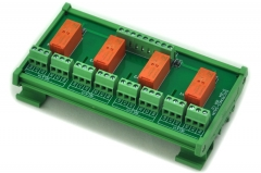 ELECTRONICS-SALON DIN Rail Mount Passive Bistable/Latching 4 DPDT 8A Power Relay Module, 5V Ver.