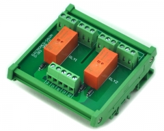 ELECTRONICS-SALON DIN Rail Mount Passive Bistable/Latching 2 DPDT 8A Power Relay Module, 12V Ver.
