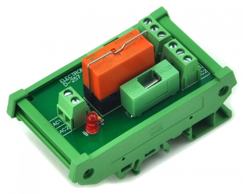 ELECTRONICS-SALON DIN Rail Mount 115VAC Control DPDT 8Amp Power Relay Fused Interface Module Board, RTE24615 AC115V.